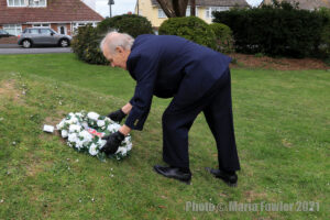 Mayor laying a wreath in the Mayor's garden on behalf of Harwich Town Council and the residents of Harwich & Dovercourt as a mark of respect following the death of Prince Philip, Duke of Edinburgh